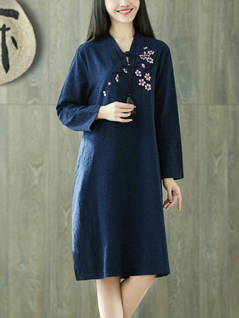 Vintage Women Folk Style Cotton Linen Embroidered Dress