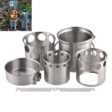 Camping Stove Set Portable Wood Burning Furnace Picnic Pot Portable Stainless Steel Cookware