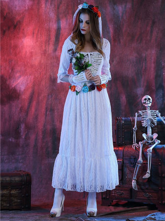 Halloween Corpse White Bride Lace Cosplay Costume Adult Women Party Dress