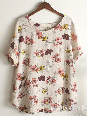 Casual Women Floral Printed Short Sleeve Pocket T-shirt