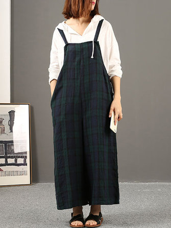 Women Sleeveless Strap Loose Wide Leg Plaid Jumpsuits