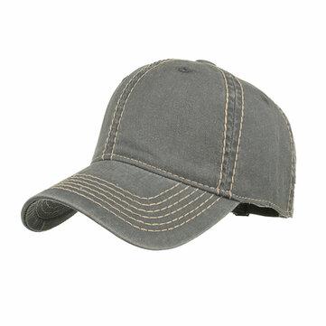 Men Women Casual Washed Cotton Baseball Cap Adjustable Soild Color Visor Hat