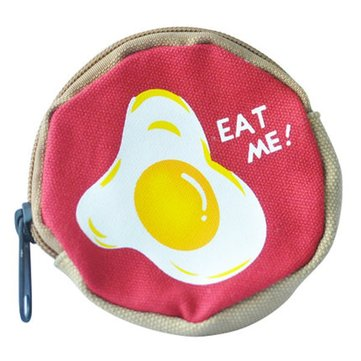 Women Cartoon Poached Egg Canvas Round Bags Girls Cute Coin Bags Card Holder