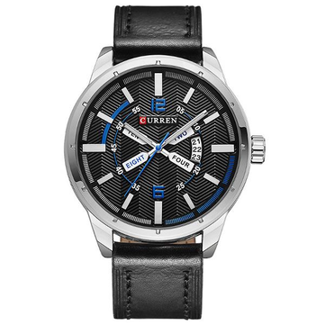 CURREN 8211 Fashion Men Quartz Watch Casual Leather Strap Date Display Sports Watch