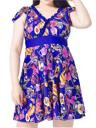 Plus Size Deep Plunge Back Swimwear Printed Flounces Shoulder Ruffle Bathing Suit Swimdress