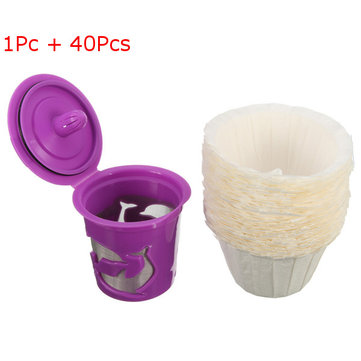 40Pcs Paper Coffee Filter + 1Pc Refillable Reusable Purple Cup Set