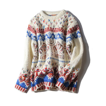 Vintage Women O-Neck Long Sleeve Jacquard Christmas Sweater