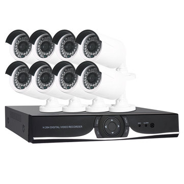8CH 1080N Video Recorder and 8PCS 720P Weatherproof Surveillance Cameras with IR-Cut Security System