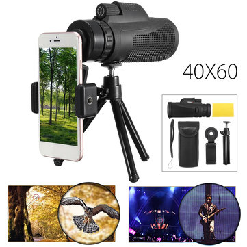 40X60 HD Zoom Camping Travel Waterproof Monocular Telescope Phone Clip Tripod for Cell Phone