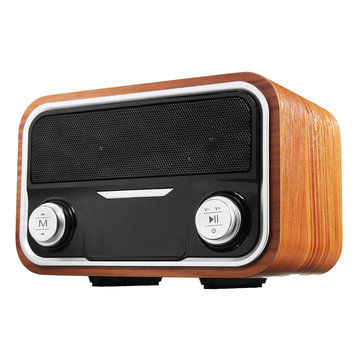 Wood Portable Double Units Wireless Bluetooth Speaker FM Radio Aux-in Stereo Bass Subwoofer