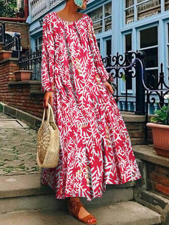 Women Vintage Long Sleeve Crew Neck Floral Print Maxi Dress