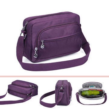 Women Nylon Multilayer Zipper Pockets Shoulder Bags Light Outdoor Sports Crossbody Bags