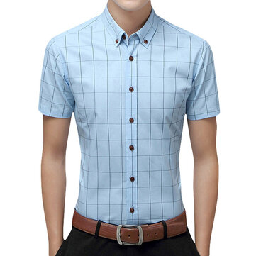 Mens Summer Fashion Plaid Printing Turn Down Collar Slim Business Casual Shirts