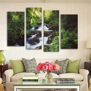 4pcs ruisseau de la forêt de peinture sur toile image moderne décoration murale de la maison