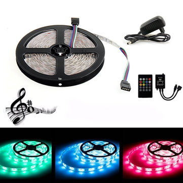 5M 300 LED SMD3528 Waterproof RGB Flexible Strip with Music Controller DC12V 2A Power Adapter