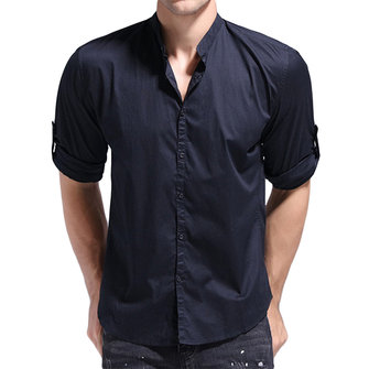 Mens Cotton Pure Color Long Sleeve Stand Collar Band Collar Shirts