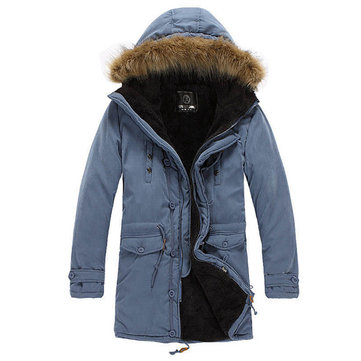 Men Winter Sherpa Lined Thick Parka Outdoor Warm Coat Windproof Stylish Jacket