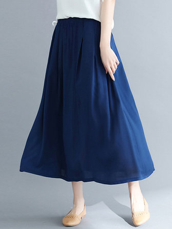 Women Casual Cotton High Waist Swing A-Line Maxi Skirt