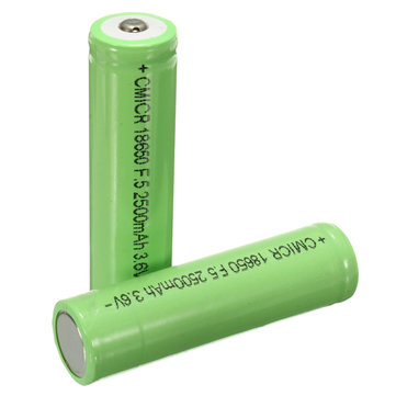 2pcs 18650 2500mah 3.6V Lithium Li-ion Protected Rechargeable Battery