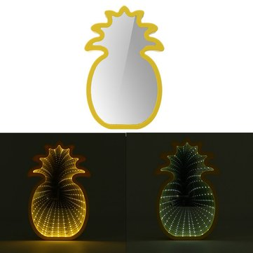 Creative Cute Pineapple Mirror Lamp LED Tunnel Night Light for Kid Atmosphere Light White/Warm White