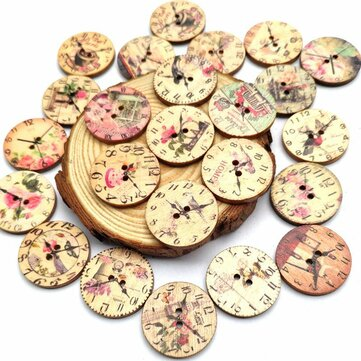 50PCS 25MM 2 Holes Decorative Clock Pattern Log Painted Round Shape Fasteners Buttons for Crafts Sewing Scrapbooking