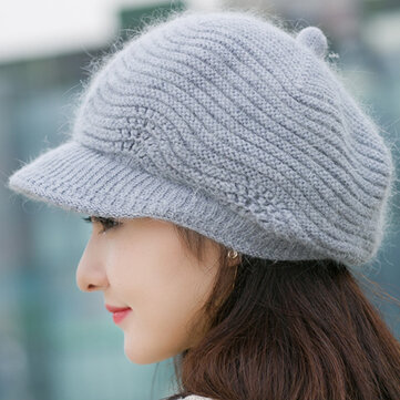 Women Wool Knitted Warm Octagonal Cap Solid Flexible Hat