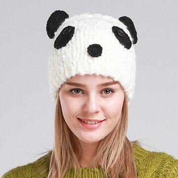 Women Cute Panada Handmade Knit Beanie Hat