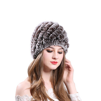 Womens Classic Rex Rabbit Fur Beanie Winter Warm Stripe Hats