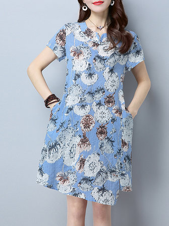 Casual Women Printed Short Sleeve Dress with Pocket