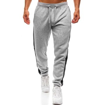 Mens Sport Hip-hop Breathable Drawstring Stitching Pants