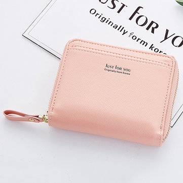 Women Bifold PU Short Wallet Mirror Solid Coin Bag