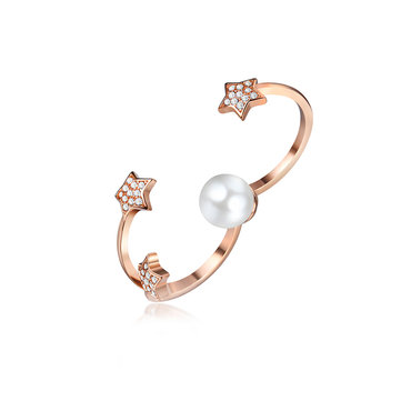 Elegant Platinum Plated Artificial Pearl Five Pointed Star Rose Gold Open Double Rings for Women