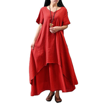 O-NEWE Vintage Women Fake Two-Piece Maxi Dress