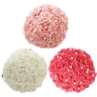 15PCS Faux Pearl Crystal Pins Bruidsmeisje Bruidsmeisje Flower Girls Foam Roses Bouquet