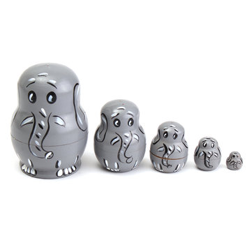 5PCS Wooden Russian Babushka Matryoshka Elephant Pattern Doll Nesting Doll Kids Collection Toy