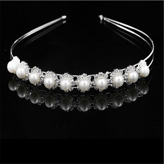 Bridal Plating Silver Pearl Headbrand Tiara Crystal Rhinestone Crown Band Wedding Accessories
