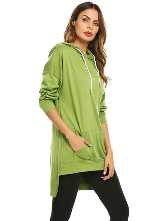 S-5XL Women Hooded Pocket Side Zipper Sweatshirt