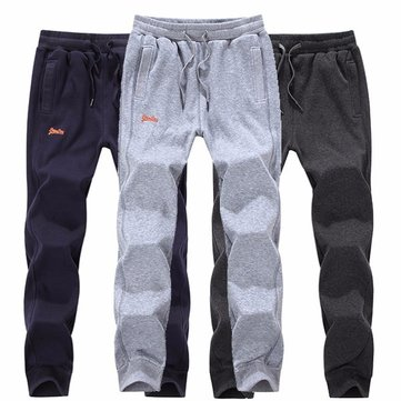 Autumn Winter Mens Plus Velvet Warm Cotton Trousers Casual Sports Sweat Jogger pants 4 Colors