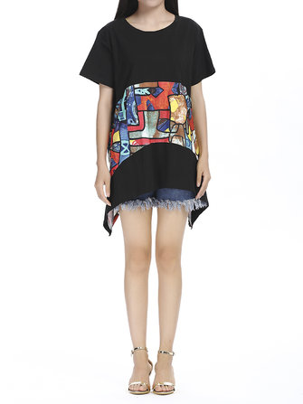 Casual Women Short Sleeve Abstract Printing Irregular Mini Dress