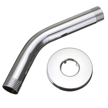 6 Inch Wall Mount Chrome Shower Arm Bathroom Shower Extension Head with Flange