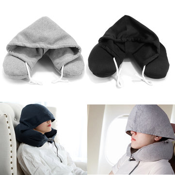 Airplane Travel Soft Hooded U-Shape Neck Pillow Sleep Support Headrest Comfortable Cushion