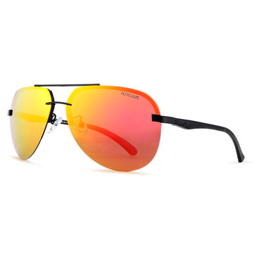 KDEAM KD143 Metal Polarized Sunglasses Men Rimless Sun Glasses Reflective Coating for Outdoor Outdoor Golf Running Driving