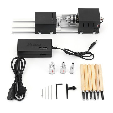 Drillpro Mini Lathe Machine Wood Working DIY Lathe Set with DC 24V Power Adapter Metal Cover