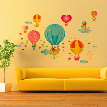 Children Kids Baby Cartoon Fire Balloon Bedroom DIY Adhesive Art ...