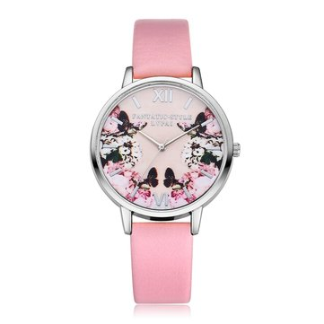 Flower Butterfly Leather Strap Ladies Watch