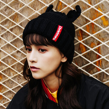 Women Winter Cute Antler Plus Velvet Thick Earmuffs Knit Hat