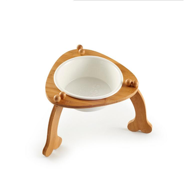 Ceramic Pet Bowl with Sturdy Bamboo Stand for Food and Water Bowls Pet Feeders for Medium Large Dogs
