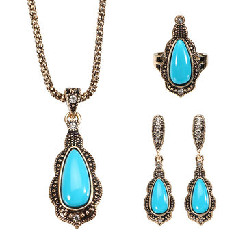 JASSY® Bohemian Gold Earrings Natural Blue Stone Necklace Retro Rhinestones Ring Gift For Women
