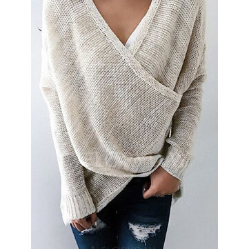 Hollow V Neck Cross Knit Irregular Sweater