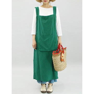 Vintage Women Sleeveless Strap Linen Cotton Pinafore Dress